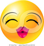 smiley face blowing kisses