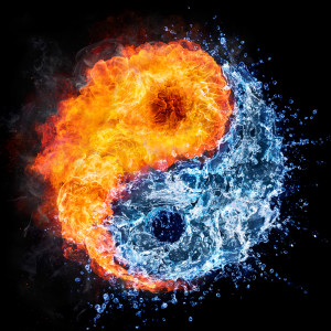 yin yang symbol in fire and water used for meditation classes
