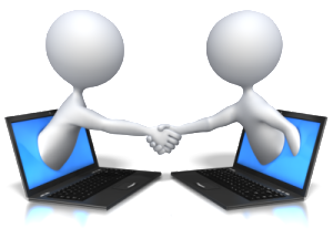 stick figures shaking hands as they pop up out of separate laptop screens