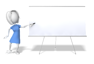 Woman presenting on white board while teaching classes