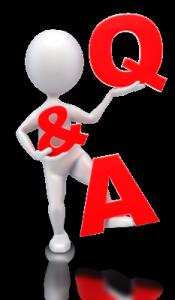 Bubble figure holding letters Q & A