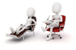 Counseling a HypnoTherapy Client who is reclining on a couch.