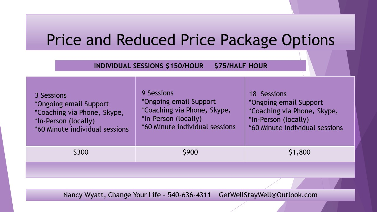 Change Your Life Price List
