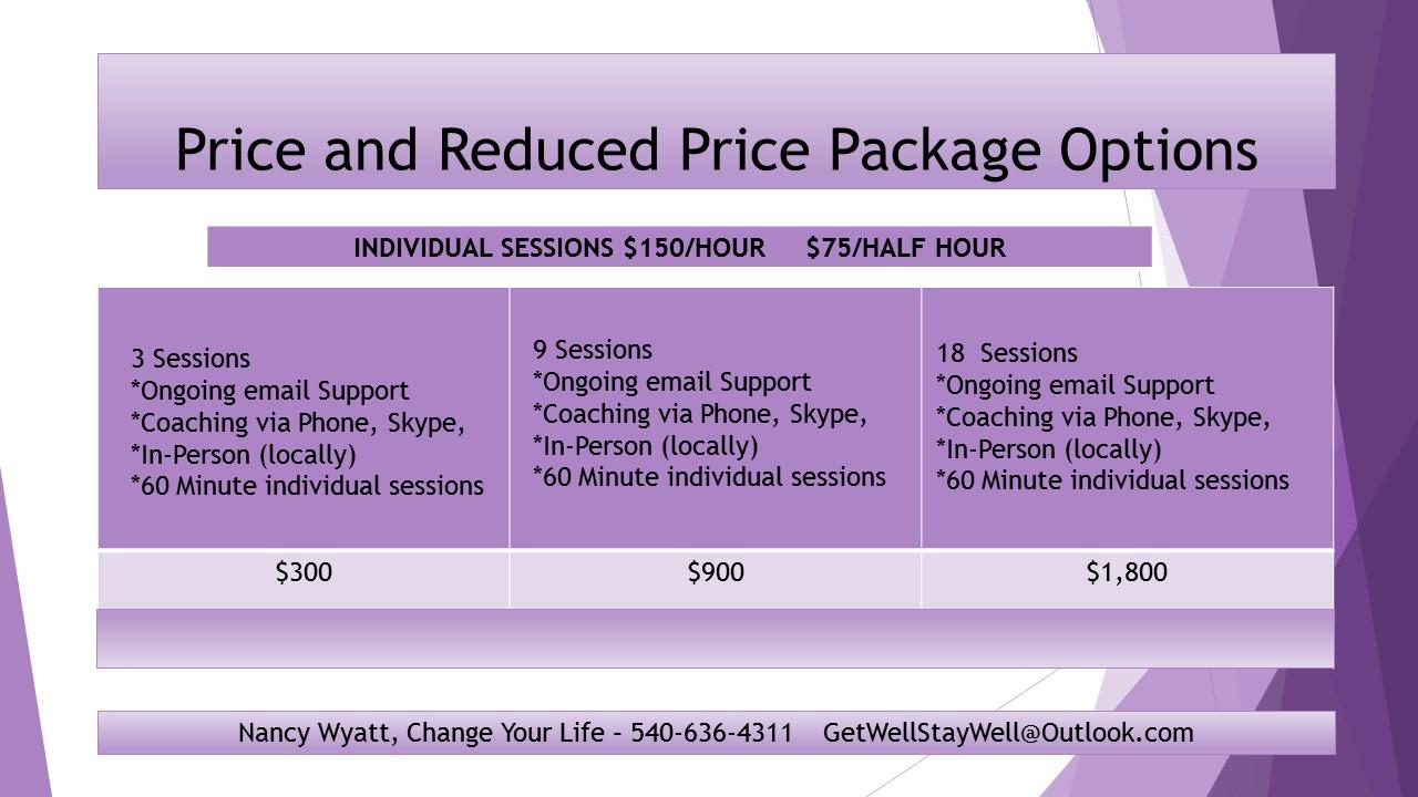 Life Coach Price Options