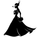 girl in a hat and dress with handbag, Change silhouette, retro, vector