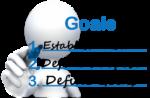 stick figure at whiteboard writing goals