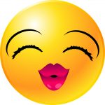 smiley face with red lips blowing kisses