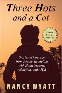 Three Hots and a Cot book cover dark silhouette of a man against orange sky, as he faces homelessness, addiction, and AIDS.