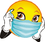 smiley face holding mask over nose and mouth with gloved hands