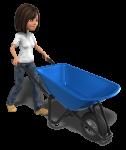 figure of a woman pushing a wheel barrow