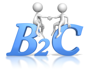 2 figures shaking hands over the letters B 2 C (business to consumer)