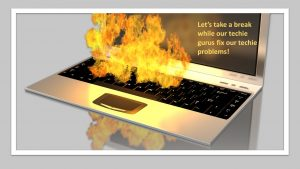 Infographic keyboard on fire break for tech issue fix
