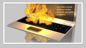 Infographic keyboard on fire break for tech issue fix