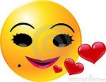Smiling happy face with red hearts floating forth