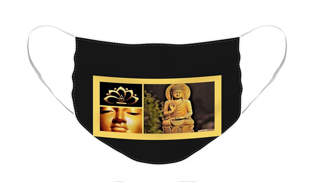 Images of Buddha on a face mask for Buddha Quote on health, mental and physical